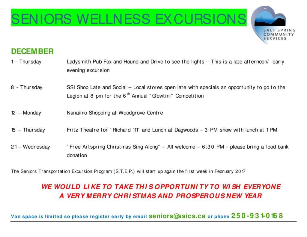 Seniors' Wellness Excursions Dec 2016